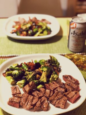 Special dinner including Japanese beef – really delicious.