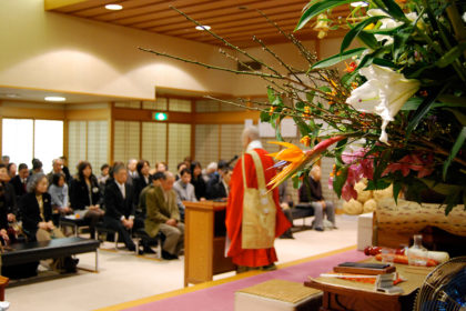 Osoko (Goshugyo)—Monthly Buddhist service in which all members participate to discipline and improve themselves